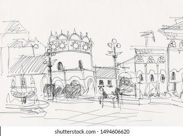 Komsomolskaya Square with three trainstation, Moscow, instant sketch