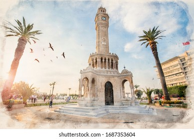 Konak Square street view with old clock tower (Saat Kulesi) in Izmir, Turkey at sunset. It was built in 1901 and accepted as the official symbol of the city. watercolor sketch painting