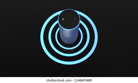 KONSTANZ, GERMANY - AUG 3: 3D Illustration of Amazon Alexa Echo Plus on black backround | total -top -centered