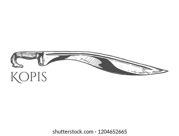 Kopis sword. Ancient Greek edged weapon, hoplite equipment. Hand drawn illustration in vintage engraved style. Isolated on white background.