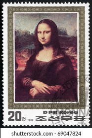 KOREA - CIRCA 1986 : a stamp printed by KOREA. Shows Leonardo Da Vinci's pictures - Mona Lisa. Circa 1986