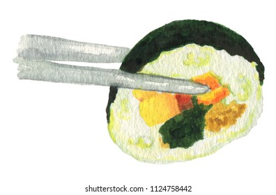 Korean food kimbab on chopsticks watercolor illustration isolated on white background