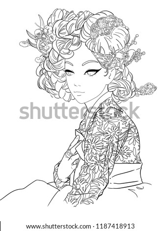 Korean Girl Hanbok Line Art Adult Stock Illustration 1187418913 - Korean-hanbok-coloring-pages