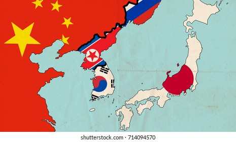 KOREAN PENINSULA - SEPTEMBER 2017: The Korean Peninsula has been divided between the states of North Korea and South Korea along the 38th parallel since an armistice was reached in 1953.