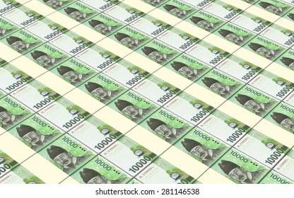 Korean won bills stacks background.