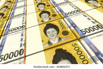 Korean won bills stacks background. 3D illustration