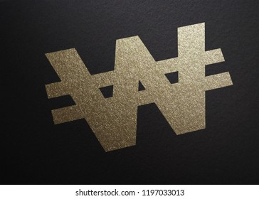 Korean Won Currency Symbol, Glitter Gold Printed on Black Carton Paper, Perspective View, Graphic Illustration
