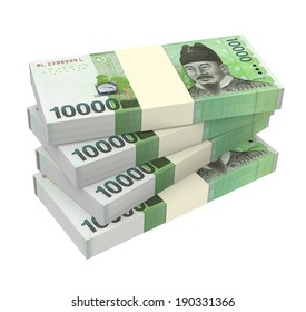 Korean won money isolated on white background.  Computer generated 3D photo rendering