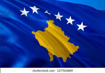 Kosovo flag. 3D Waving flag design. The national symbol of Kosovo, 3D rendering. Kosovo 3D Waving sign design. Waving sign background wallpaper. 3D pattern background download HD wallpaper