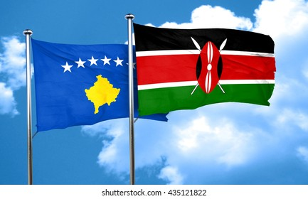 Kosovo flag with Kenya flag, 3D rendering