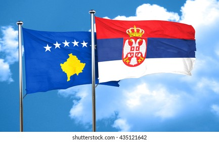 Kosovo flag with Serbia flag, 3D rendering