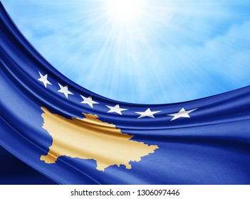 Kosovo   flag of silk with copyspace for your text or images and sky background-3D illustration