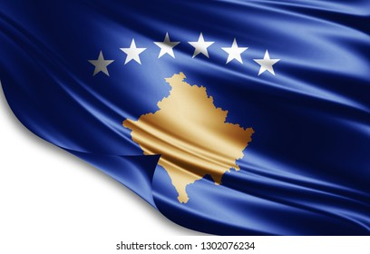 Kosovo flag of silk-3D illustration