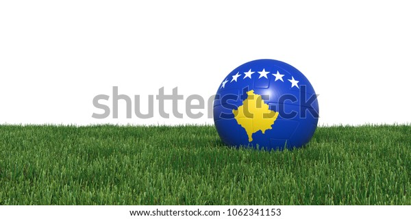 Kosovo Kosovans flag soccer ball lying in grass, isolated on white background. 3D Rendering, Illustration.