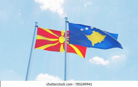 Kosovo and Macedonia, two flags waving against blue sky. 3d image
