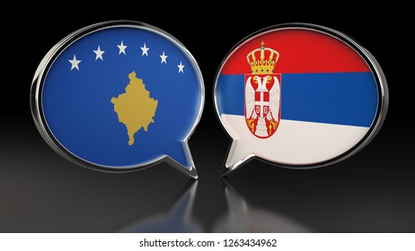Kosovo and Serbia flags with Speech Bubbles. 3D illustration