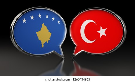 Kosovo and Turkey flags with Speech Bubbles. 3D illustration