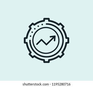 Kpi icon line isolated on clean background. Kpi icon concept drawing icon line in modern style.  illustration for your web mobile logo app UI design.