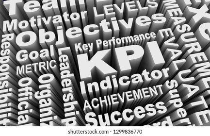 KPI Key Performance Indicators Words Collage 3d Illustration