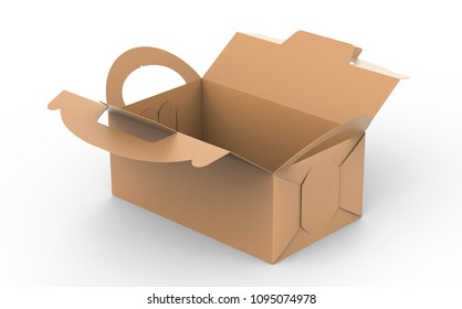 Kraft box with handle, open gift or food carton package in 3d render for design uses