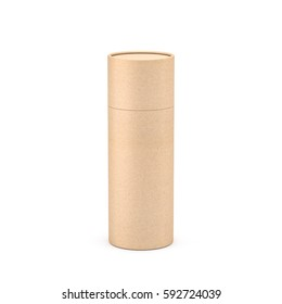 Kraft Brown paper tube tin can packaging Mockup, 3d rendering