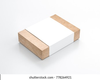 Kraft paper Gift Box Mockup with white paper cover, 3d rendering