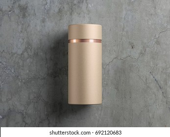 Kraft paper tube tin can with gold line cardboard Mockup on concrete floor, 3d rendering