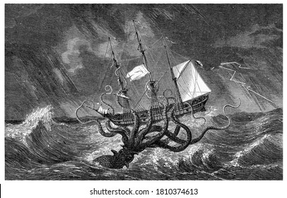 Kraken, From the Dictionary of Word and Things, 1888.