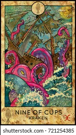 Kraken. Nine of cups. Fantasy Creatures Tarot full deck. Minor arcana. Hand drawn graphic illustration, engraved colorful painting with occult symbols