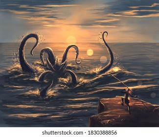 Kraken in the sea at sunset