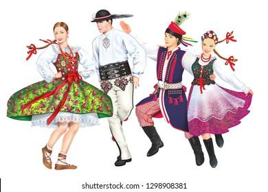 Krakowiacy and Gorale. Polish Folk Dancers From Podhale and Krakow Lesser Poland.