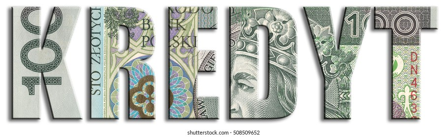 Kredyt - credit. PLN or Polish Zloty texture.