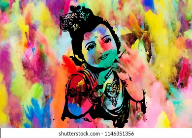 Krishan Krishna Ji Bal Baby Krishan  Krishna black sketch with colorful Holi Background with Flute in his hand and peacock feather in his crown