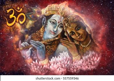 Krishna and Radha, beautiful hindu divine couple with om sign.