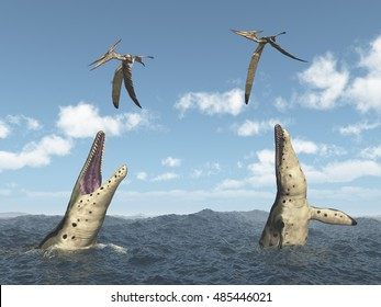 Kronosaurus attacks Pteranodon Computer generated 3D illustration