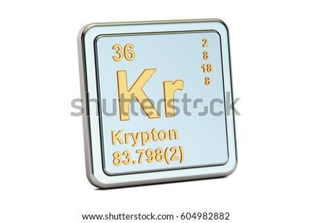 Krypton Kr Chemical Element Sign 3 D Stock Illustration 604982882