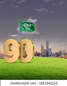 KSA 90th National Day (September 23). 3D rendering of the number 90 with Saudi flag and Riyadh skyline.