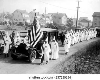 Ku Klux Klan parade in New York State, 1924.