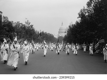 Ku Klux Klan parade in Washington D.C. in 1926, at the height of its resurgent popularity in the 1920's.