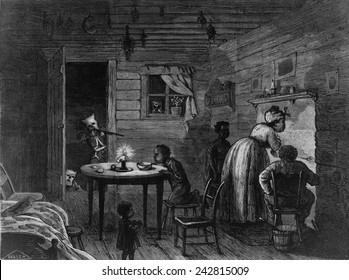 Ku Klux Klansman aiming his rifle into an African American home dramatizes the menace of the Klan in spite Federal laws passed in 1870 and 1871.