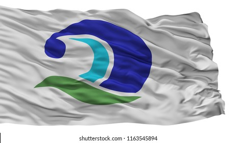 Kumano City Flag, Country Japan, Mie Prefecture, Isolated On White Background