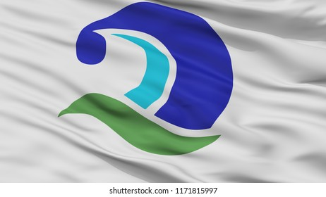 Kumano City Flag, Country Japan, Mie Prefecture, Closeup View, 3D Rendering
