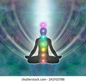 Kundalini Meditation - Silhouette of a man in lotus meditation position with Seven Chakras on jade blue background with kundalini energy flowing downwards