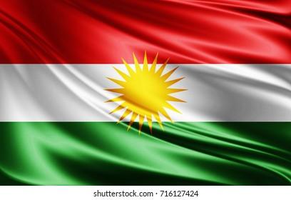 Kurdistan flag of silk-3D illustration