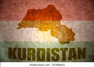 Kurdistan map on a vintage Kurdish flag background