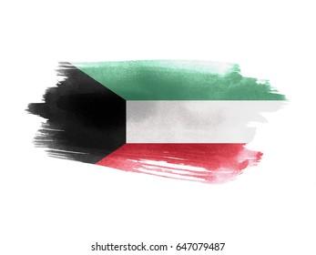 Kuwait flag grunge painted background