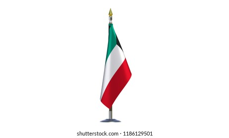 Kuwait flag Isolated Silk desktop flag on metal rack of State of Kuwait made fabric with wooden flagpole golden spear on white background isolate real photo Flags OPEC countries 3d illustration