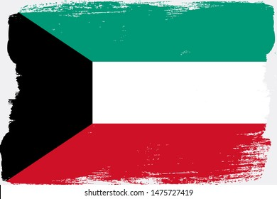 Kuwait flag painted by hand by the artist on a light background