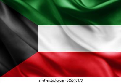Kuwait flag of silk
