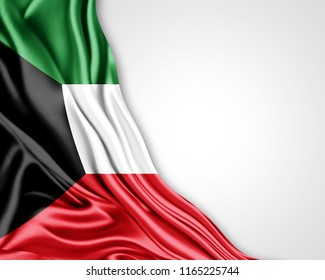 Kuwait flag of silk with copyspace for your text or images and white background-3D illustration